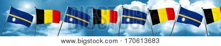 Nauru flag with Belgium flag, 3D rendering