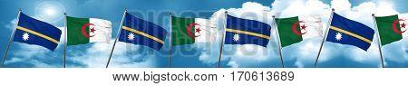 Nauru flag with Algeria flag, 3D rendering