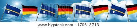 Nauru flag with Germany flag, 3D rendering