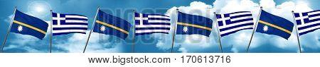 Nauru flag with Greece flag, 3D rendering