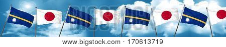 Nauru flag with Japan flag, 3D rendering