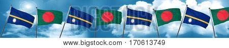 Nauru flag with Bangladesh flag, 3D rendering