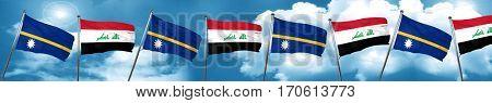 Nauru flag with Iraq flag, 3D rendering