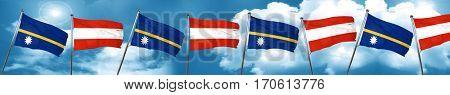 Nauru flag with Austria flag, 3D rendering