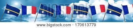 Nauru flag with France flag, 3D rendering