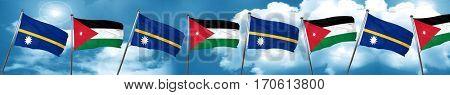 Nauru flag with Jordan flag, 3D rendering