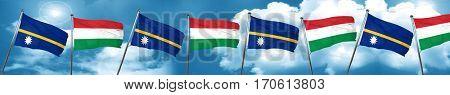 Nauru flag with Hungary flag, 3D rendering