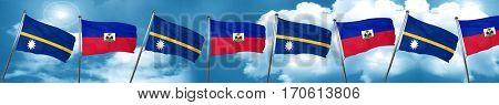 Nauru flag with Haiti flag, 3D rendering