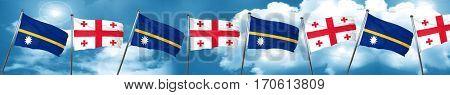 Nauru flag with Georgia flag, 3D rendering