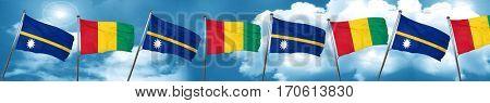 Nauru flag with Guinea flag, 3D rendering