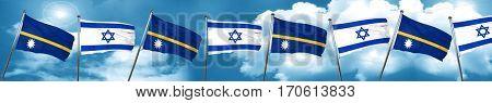 Nauru flag with Israel flag, 3D rendering