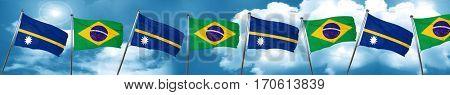 Nauru flag with Brazil flag, 3D rendering