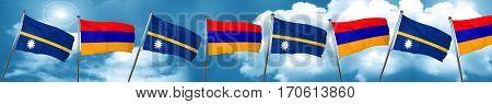 Nauru flag with Armenia flag, 3D rendering