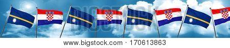 Nauru flag with Croatia flag, 3D rendering