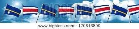 Nauru flag with Costa Rica flag, 3D rendering