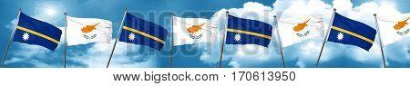 Nauru flag with Cyprus flag, 3D rendering