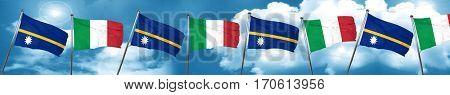 Nauru flag with Italy flag, 3D rendering