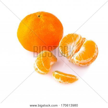 Ripe mandarines close-up on a white background. Tangerine orange on a white background. with clipping path