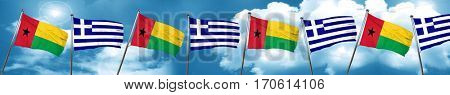 Guinea bissau flag with Greece flag, 3D rendering