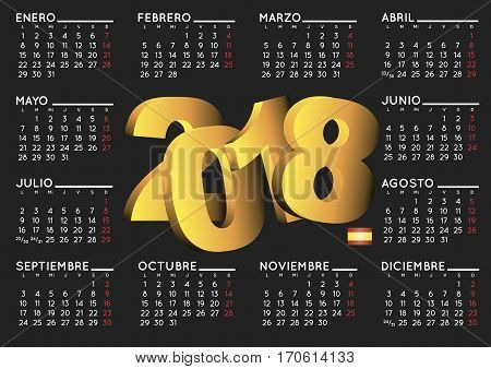 2018 Calendar In Black Spanish Horizontal