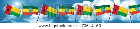 Guinea bissau flag with Ethiopia flag, 3D rendering