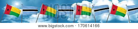 Guinea bissau flag with Botswana flag, 3D rendering