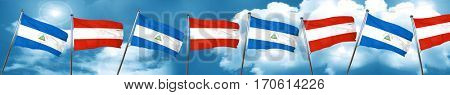nicaragua flag with Austria flag, 3D rendering