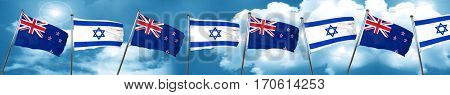 New zealand flag with Israel flag, 3D rendering