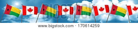 Guinea bissau flag with Canada flag, 3D rendering
