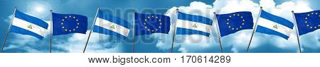 nicaragua flag with european union flag, 3D rendering