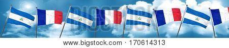 nicaragua flag with France flag, 3D rendering