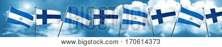 nicaragua flag with Finland flag, 3D rendering