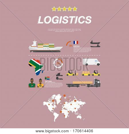 Set flat vector illustrations on the theme of logistics and transport. Ship with containers for maritime transport and the car with a trailer and boxes on pallets.
