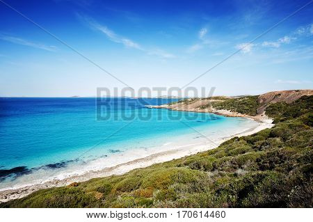 White sand and turquoise water brings many tourists to West Beach in Esperance, South Western Australia, Australia.