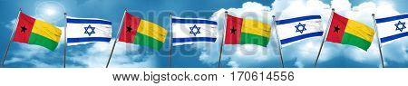 Guinea bissau flag with Israel flag, 3D rendering
