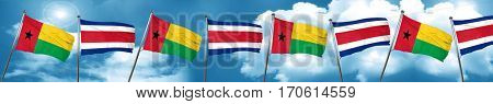 Guinea bissau flag with Costa Rica flag, 3D rendering