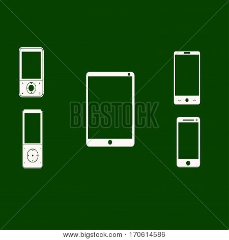 Mobile phones white on a green background. Vector illustration