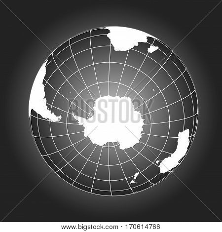 Antarctica And South Pole Map In Black And White