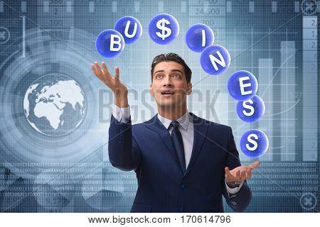 Businessman juggling between various priorities in business