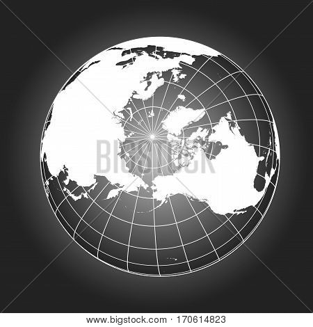 North Pole Map In Black And White