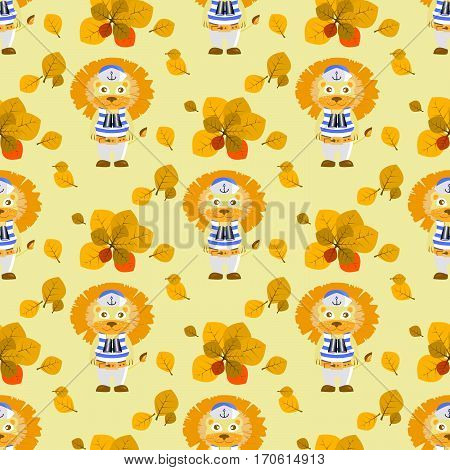 Leaves And Lion Sailor. Seamless Pattern