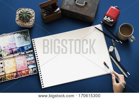 Sketchbook Color Palette Brush Drawing Copy Space