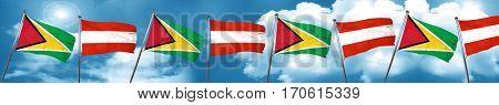 Guyana flag with Austria flag, 3D rendering
