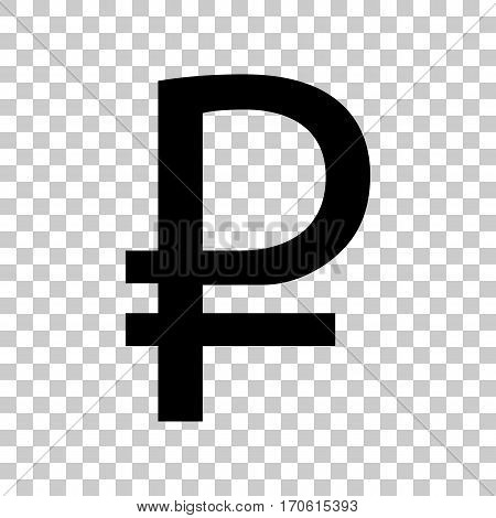 Ruble sign. Black icon on transparent background.