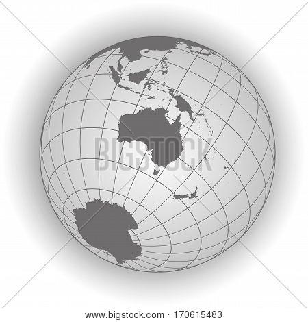 Australia Or Oceania Map In Gray Tones