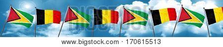 Guyana flag with Belgium flag, 3D rendering