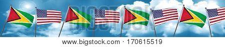 Guyana flag with American flag, 3D rendering