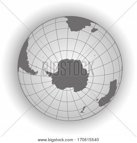 Antarctica And South Pole Map In Gray Tones
