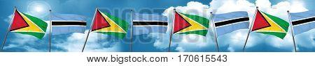 Guyana flag with Botswana flag, 3D rendering