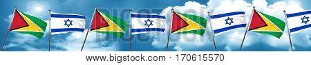 Guyana flag with Israel flag, 3D rendering